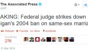 BREAKING:  Federal Judge Strikes Michigan's Marriage Ban!